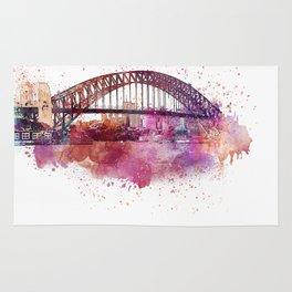 Sydney Harbor Bridge Watercolor Art Rug