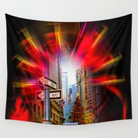 shopping Wall Tapestries featuring Christmas Shopping New York  by Walter Zettl