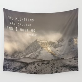 The Mountains are calling, and I must go.  John Muir. Vintage. Wall Tapestry