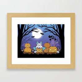 Pumpkin Patch at Night Framed Art Print