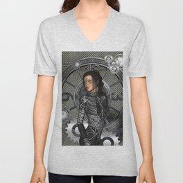 Steampunk, steampunk lady Unisex V-Neck