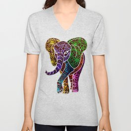 Elephant Floral Batik Art Design Unisex V-Neck