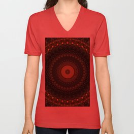 Mandala in dark brown and yellow tones Unisex V-Neck