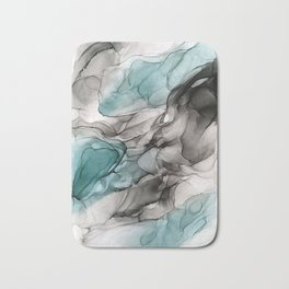 Smoky Grays and Green Abstract Flow Bath Mat