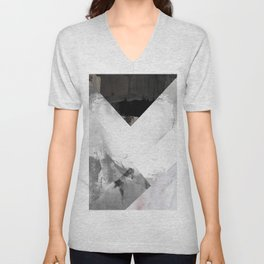 Marble black and white texture illustration art print gray scale Unisex V-Neck