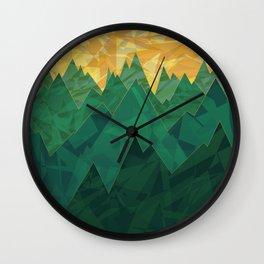 Abstract Vivid Green Mountains Wall Clock