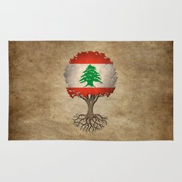 Vintage Tree of Life with Flag of Lebanon Rug