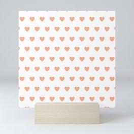 Polka dot hearts - pink Mini Art Print