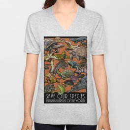 Save Our Species: Vanishing Reptiles of the World Unisex V-Neck