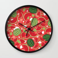 watermelon Wall Clocks featuring Watermelon by Ornaart