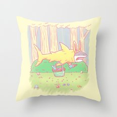 The Easter Bunny Shark Throw Pillow