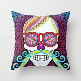 Sugar Skull (Mustachio) Throw Pillow