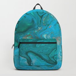 Fluid Nature - Malachite Flows - Acrylic Pour Art Backpack