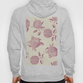 Big lush hydrangea flowers on off-white background seamless pattern. Pale pink. Atemporal, classic. Hoody