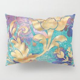 Jeweled Royale Floral Design in Gold, Blues, Purple Pillow Sham