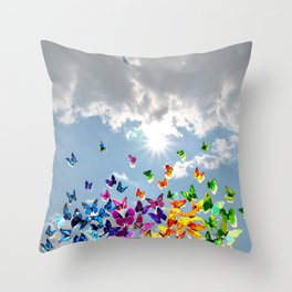 Butterflies in blue sky Throw Pillow