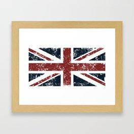 Old scratched United Kingdom flag Framed Art Print