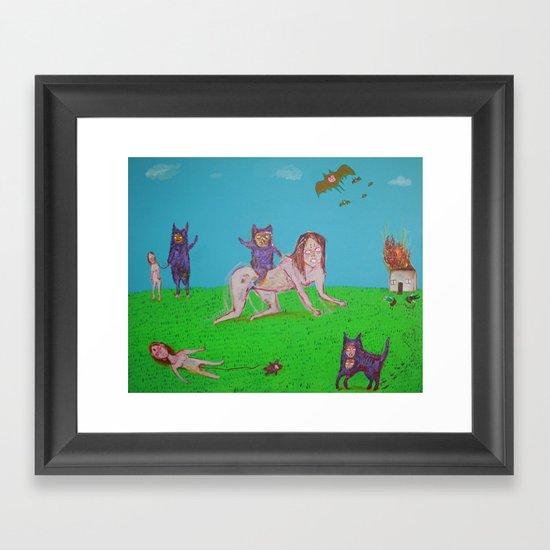ALIEN GATOS Framed Art Print