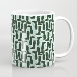 Hunter Green Wellington Welly Boots with Bluebell Flowers on Pastel Aqua Streaky Stripes Coffee Mug