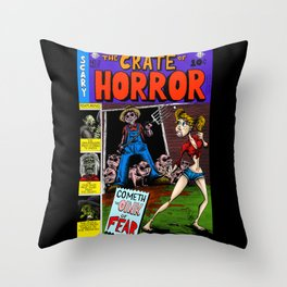 The Crate of Horror Throw Pillow