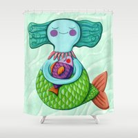 mom Shower Curtains featuring Mom Mermaid by Chicca Besso