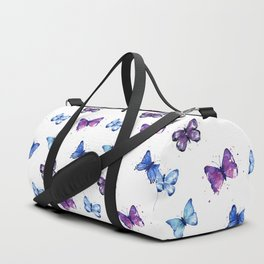 Two Blue Butterflies Watercolor Duffle Bag