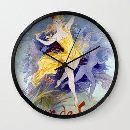 Folies Berg Res Fleur De Lotus 1893 By Jules Cheret | Reproduction Art Nouveau Wall Clock