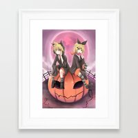 vocaloid Framed Art Prints featuring vocaloid black cats by Sunny