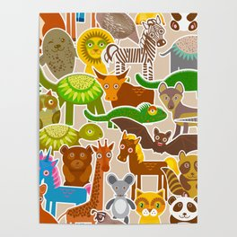 collection Funny cartoon Animals seamless pattern on beige background. Vector Poster