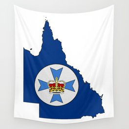 Queensland Australia Map with Flag of Queensland QLD Wall Tapestry