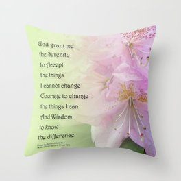 Serenity Prayer Pink Rhododendrons Throw Pillow