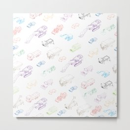 pattern with isometric icons of special equipment and machines Metal Print