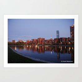 Boston Skyline at Sunset Art Print