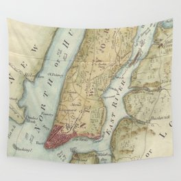Vintage Map of New York City (1869) Wall Tapestry