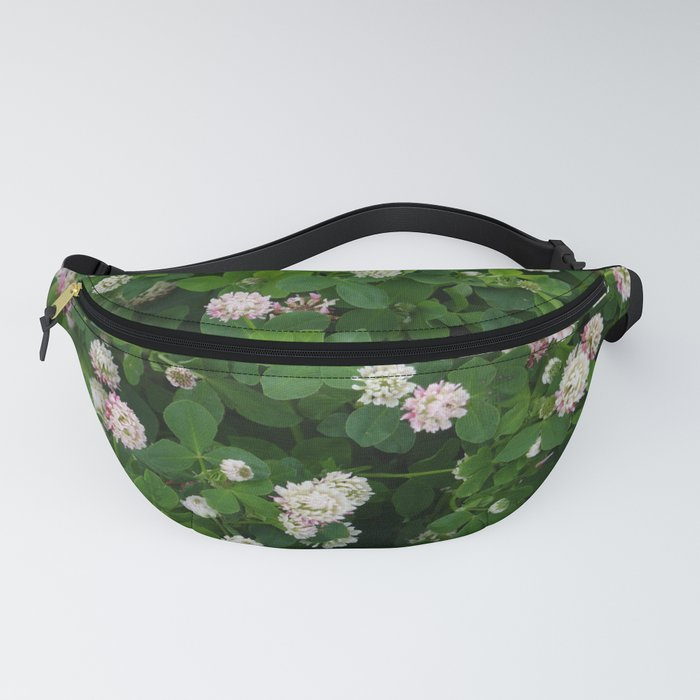 Clover flowers green and white floral field Fanny Pack