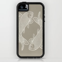 Gray Grey Alabaster Koi Fishes iPhone Case