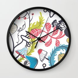 Mushrooms and other natural things Wall Clock