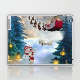 Christmas, snowman with Santa Claus Laptop & iPad Skin