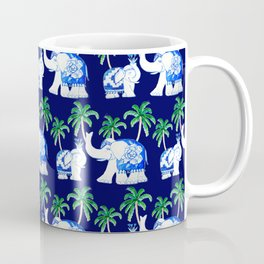 Chinoiserie Elephant on classic blue with palm trees Coffee Mug