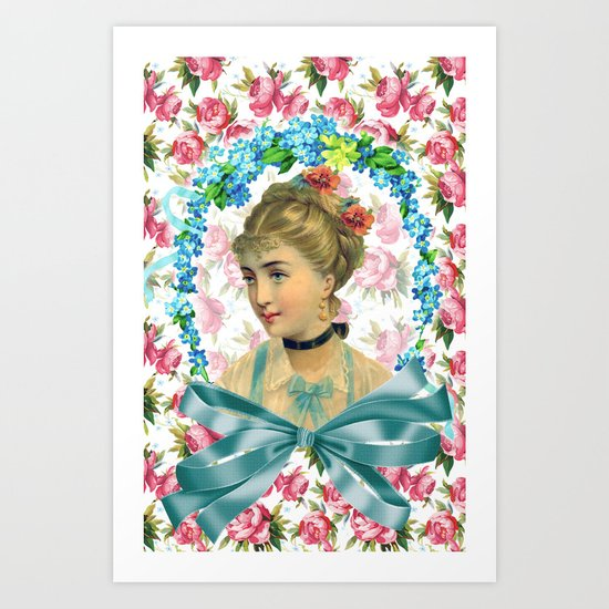 Vintage Floral Women Shabby Chic Explosion Art Print