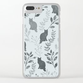 Watercolor Floral and Cat VI Clear iPhone Case
