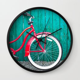 Red Retro Bicycle Wall Clock