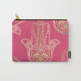 Neon pink faux gold inspirational Hamsa hand of Fatima Carry-All Pouch