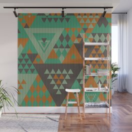 triangles-green-brown-orange-KNIT Wall Mural