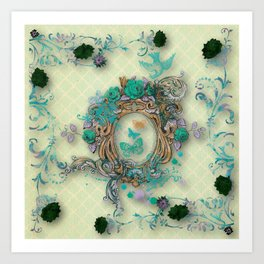 Antique florals Art Print