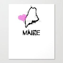 Love Maine State Sketch USA Art Design Canvas Print