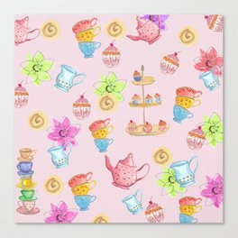 Tea party pink Canvas Print