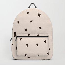 Tiny Black Hearts on Cream Cute Elegance Backpack