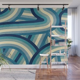 Vintage Faded 70's Style Blue Rainbow Stripes Wall Mural