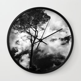 Black & White tree in the clouds Wall Clock